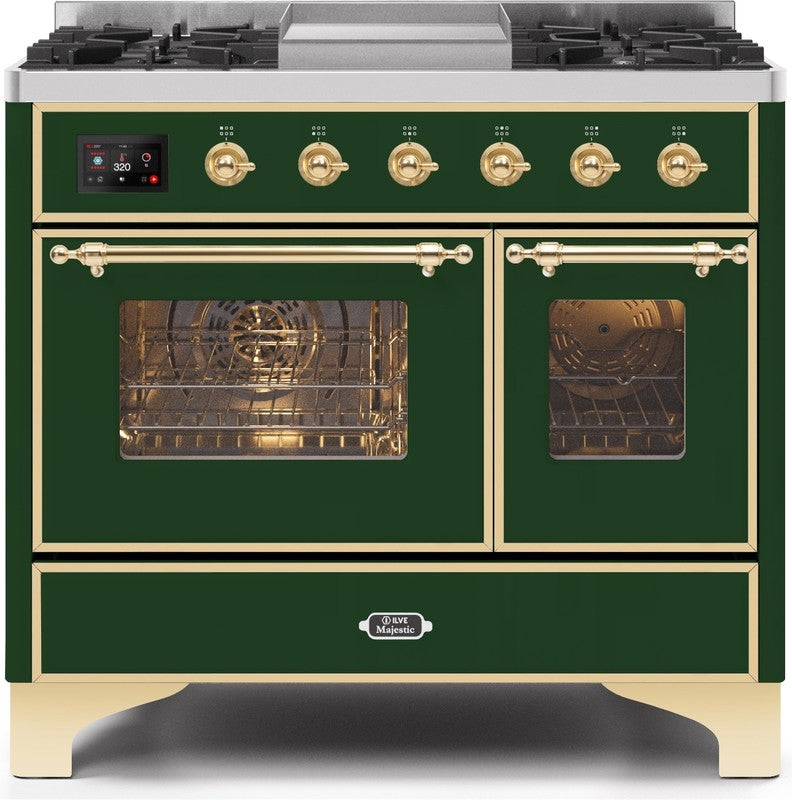 "Majestic II Series Dual Fuel Range with 4 Sealed Burners and Griddle   3.88 cu. ft. Total Oven Capacity   TFT Oven Control Display   Triple Glass Cool Door Oven   Brass Trim   in Emerald Green""UMD10FDNS3EGG 40 - America Best Appliances, LLC"