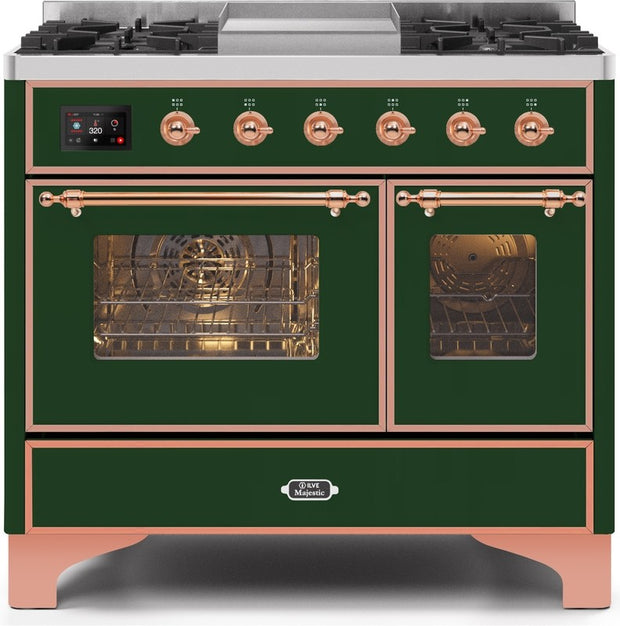 "Majestic II Series Dual Fuel Range with 4 Sealed Burners and Griddle   3.88 cu. ft. Total Oven Capacity   TFT Oven Control Display   Triple Glass Cool Door Oven   Copper Trim   in Emerald Green""UMD10FDNS3EGP 40 - America Best Appliances, LLC"