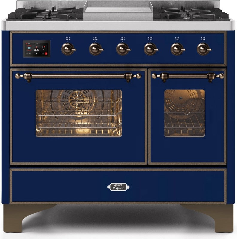 "Majestic II Series Dual Fuel Range with 4 Sealed Burners and Griddle   3.88 cu. ft. Total Oven Capacity   TFT Oven Control Display   Triple Glass Cool Door Oven   Bronze Trim   in Midnight Blue""UMD10FDNS3MBBLP 40 - America Best Appliances, LLC"