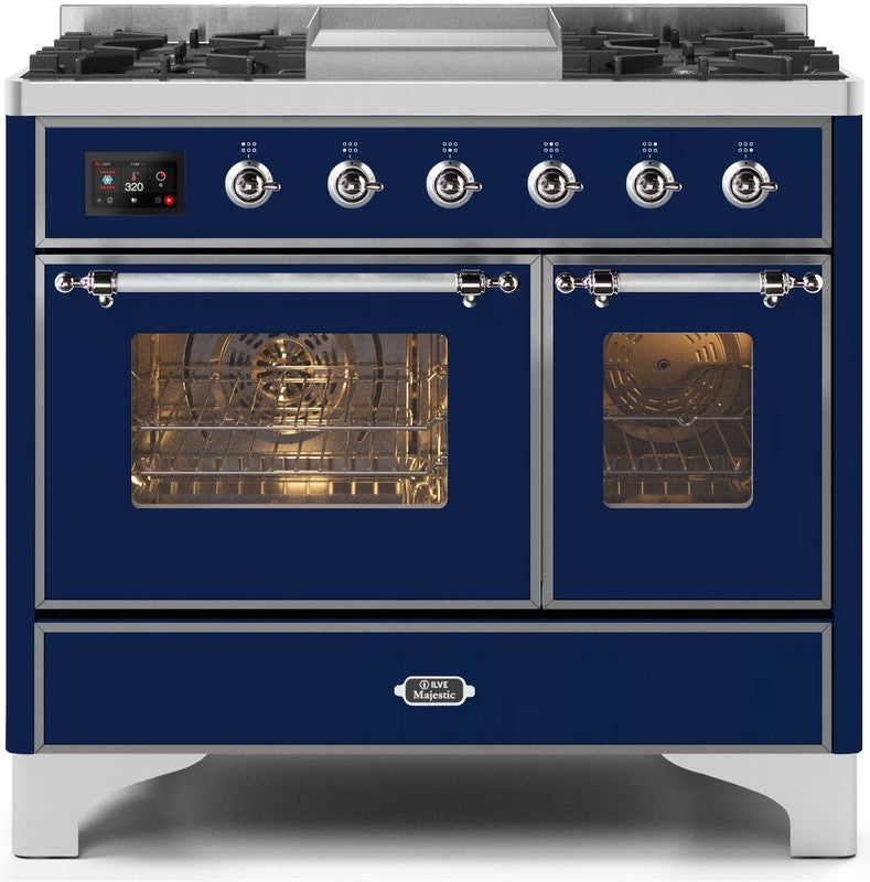 "Majestic II Series Dual Fuel Range with 4 Sealed Burners and Griddle   3.88 cu. ft. Total Oven Capacity   TFT Oven Control Display   Triple Glass Cool Door Oven   Chrome Trim   in Midnight Blue""UMD10FDNS3MBC 40 - America Best Appliances, LLC"