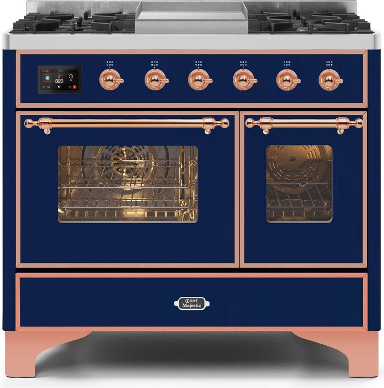 "Majestic II Series Dual Fuel Range with 4 Sealed Burners and Griddle   3.88 cu. ft. Total Oven Capacity   TFT Oven Control Display   Triple Glass Cool Door Oven   Copper Trim   in Midnight Blue""UMD10FDNS3MBPLP 40 - America Best Appliances, LLC"