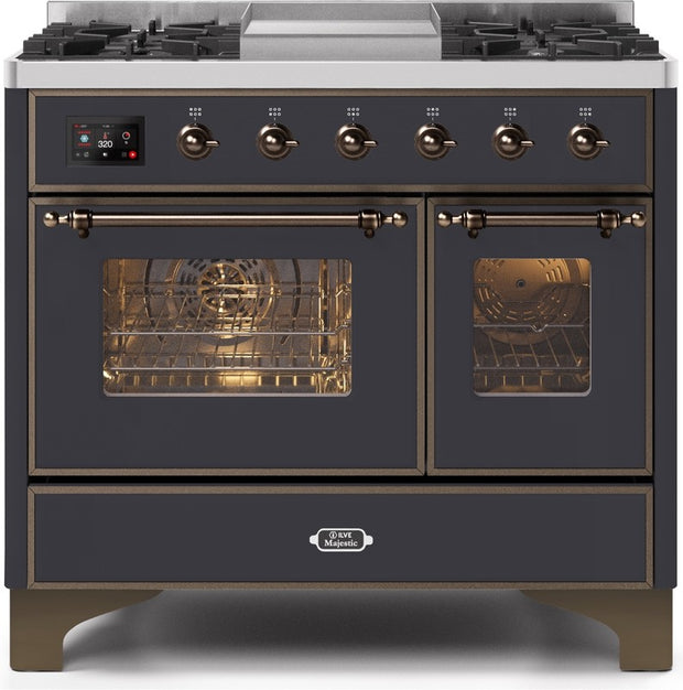 "Majestic II Series Dual Fuel Range with 4 Sealed Burners and Griddle   3.88 cu. ft. Total Oven Capacity   TFT Oven Control Display   Triple Glass Cool Door Oven   Bronze Trim   in Matte Graphite""UMD10FDNS3MGBLP 40 - America Best Appliances, LLC"