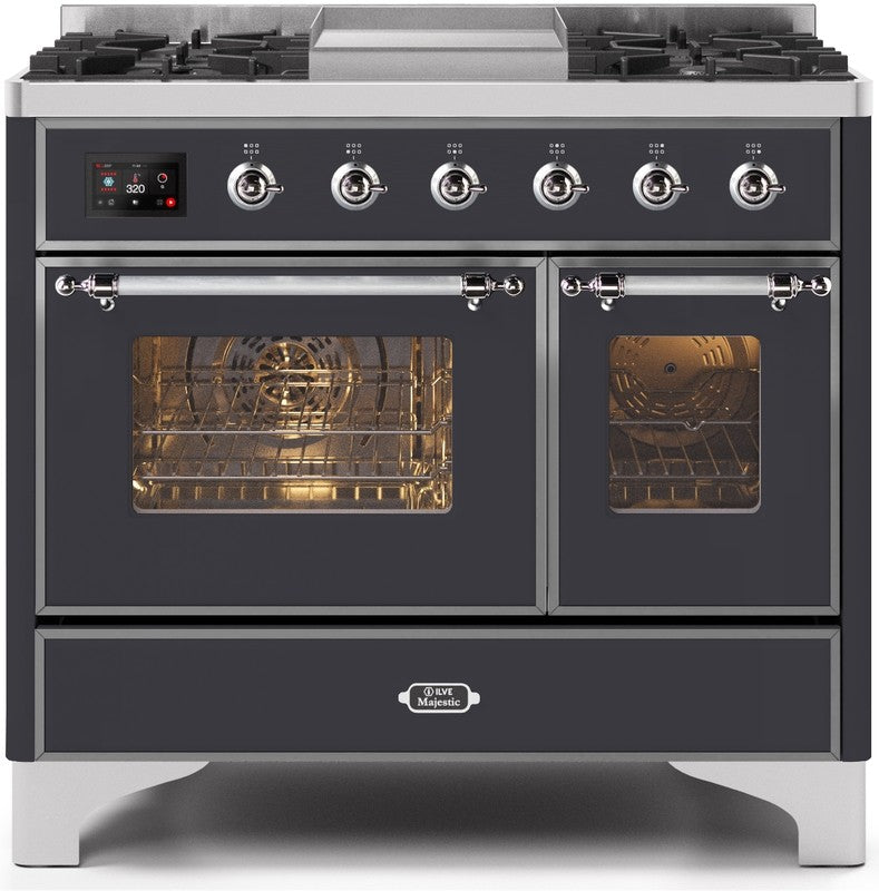 "Majestic II Series Dual Fuel Range with 4 Sealed Burners and Griddle   3.88 cu. ft. Total Oven Capacity   TFT Oven Control Display   Triple Glass Cool Door Oven   Bronze  Trim  in Matte Graphite""UMD10FDNS3MGCLP 40 - America Best Appliances, LLC"