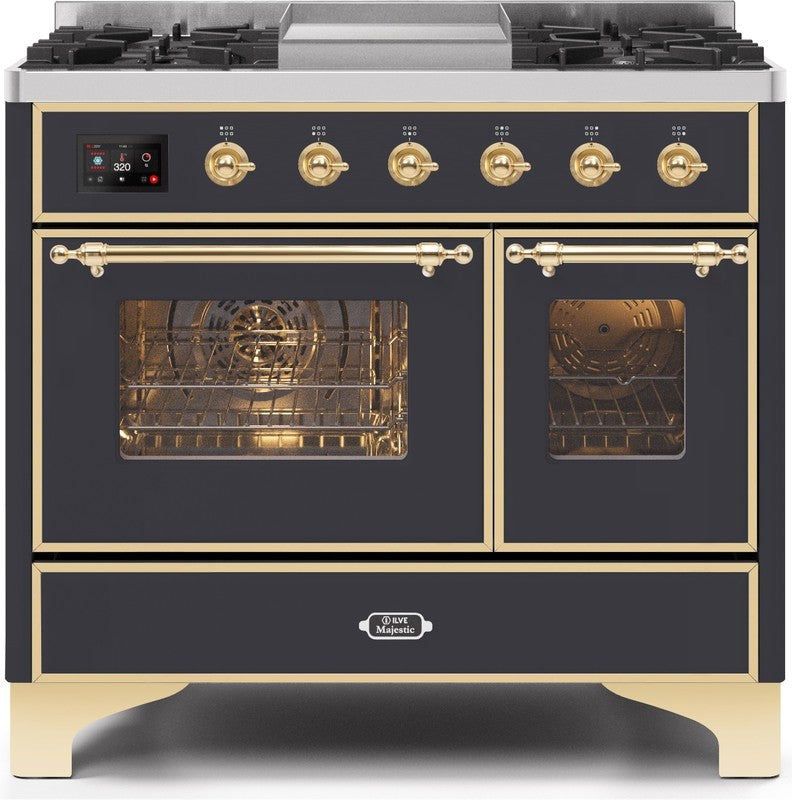 "Majestic II Series Dual Fuel Range with 4 Sealed Burners and Griddle   3.88 cu. ft. Total Oven Capacity   TFT Oven Control Display   Triple Glass Cool Door Oven   Brass Trim   in Matte Graphite""UMD10FDNS3MGG 40 - America Best Appliances, LLC"