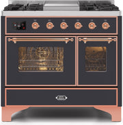 "Majestic II Series Dual Fuel Range with 4 Sealed Burners and Griddle   3.88 cu. ft. Total Oven Capacity   TFT Oven Control Display   Triple Glass Cool Door Oven   Copper Trim   in Matte Graphite""UMD10FDNS3MGPLP 40 - America Best Appliances, LLC"