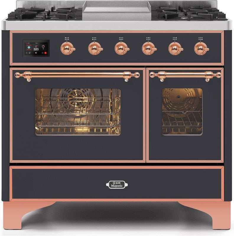 "Majestic II Series Dual Fuel Range with 4 Sealed Burners and Griddle   3.88 cu. ft. Total Oven Capacity   TFT Oven Control Display   Triple Glass Cool Door Oven   Copper Trim   in Matte Graphite""UMD10FDNS3MGP 40 - America Best Appliances, LLC"