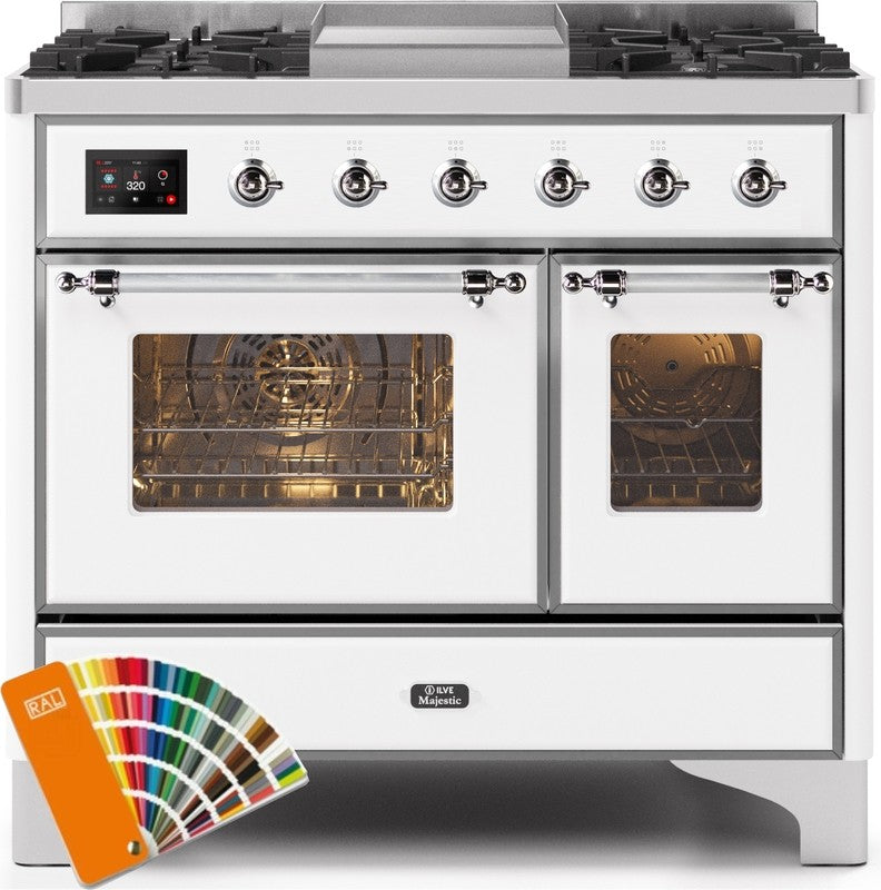 "Majestic II Series Dual Fuel Range with 4 Sealed Burners and Griddle   3.88 cu. ft. Total Oven Capacity   TFT Oven Control Display   Triple Glass Cool Door Oven Bronze Trim   in Custom RAL Color""UMD10FDNS3RALCLP 40 - America Best Appliances, LLC"
