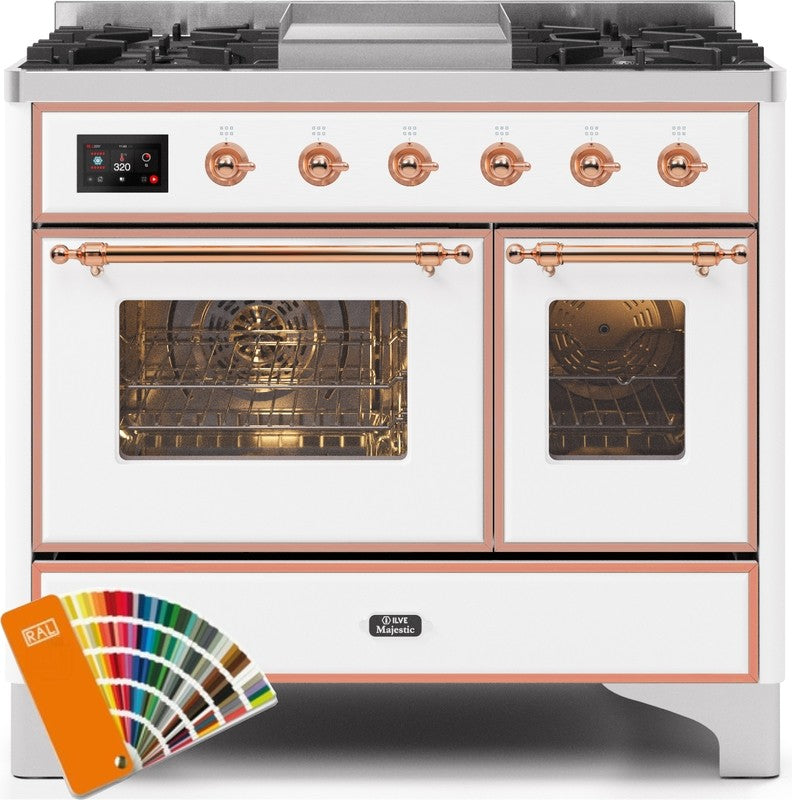 "Majestic II Series Dual Fuel Range with 4 Sealed Burners and Griddle   3.88 cu. ft. Total Oven Capacity   TFT Oven Control Display   Triple Glass Cool Door Oven   Copper Trim   in Custom RAL Color""UMD10FDNS3RALPLP 40 - America Best Appliances, LLC"