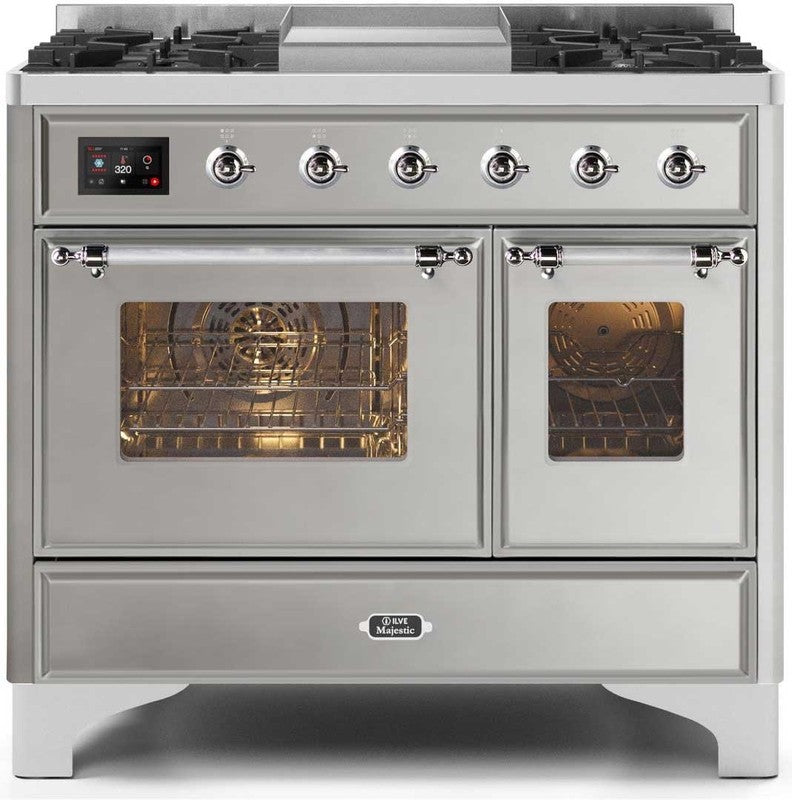 "Majestic II Series Dual Fuel Range with 4 Sealed Burners and Griddle   3.88 cu. ft. Total Oven Capacity   TFT Oven Control Display   Triple Glass Cool Door Oven   Chrome Trim   in Stainless Steel""UMD10FDNS3SSC 40 - America Best Appliances, LLC"