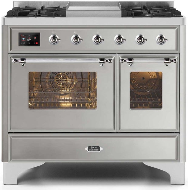 "Majestic II Series Dual Fuel Range with 4 Sealed Burners and Griddle   3.88 cu. ft. Total Oven Capacity   TFT Oven Control Display   Triple Glass Cool Door Oven   Chrome Trim   in Stainless Steel""UMD10FDNS3SSCLP 40 - America Best Appliances, LLC"