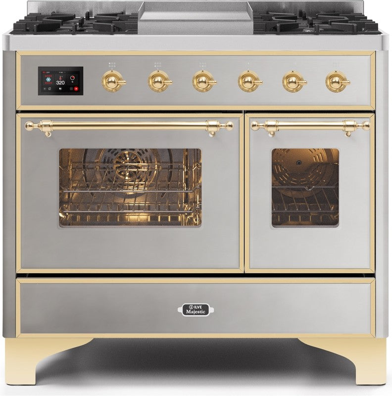 "Majestic II Series Dual Fuel Range with 4 Sealed Burners and Griddle   3.88 cu. ft. Total Oven Capacity   TFT Oven Control Display   Triple Glass Cool Door Oven   Brass Trim   in Stainless Steel""UMD10FDNS3SSGLP 40 - America Best Appliances, LLC"
