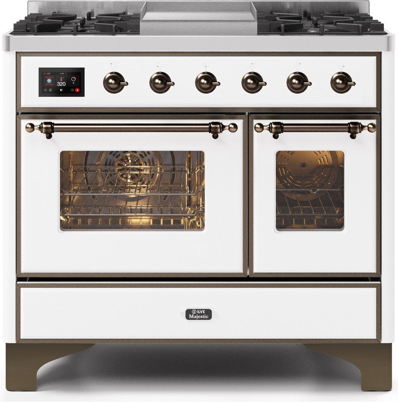 "Majestic II series Dual Fuel Range with 4 Sealed Burners and Griddle   3.88 cu. ft. Total Oven Capacity   TFT Oven Control Display   Triple Glass Cool Door Oven   Bronze Trim   in White""UMD10FDNS3WHBLP 40 - America Best Appliances, LLC"