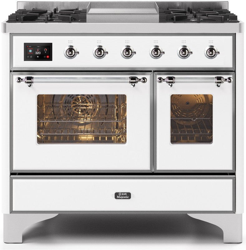"Majestic II Series Dual Fuel Range with 4 Sealed Burners and Griddle   3.88 cu. ft. Total Oven Capacity   TFT Oven Control Display   Triple Glass Cool Door Oven   Chrome Trim   in White""UMD10FDNS3WHCLP 40 - America Best Appliances, LLC"