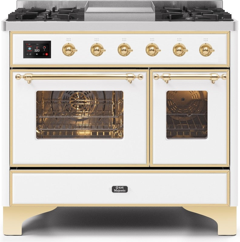 "Majestic II Series Dual Fuel Range with 4 Sealed Burners and Griddle   3.88 cu. ft. Total Oven Capacity   TFT Oven Control Display   Triple Glass Cool Door Oven   Brass Trim   in White""UMD10FDNS3WHGLP 40 - America Best Appliances, LLC"