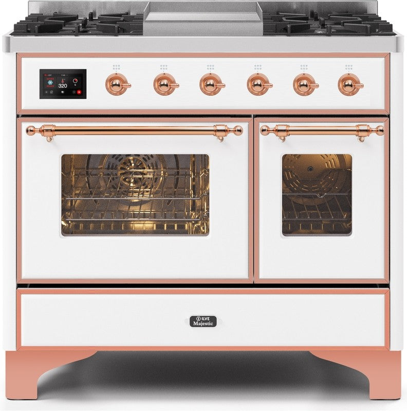 "Majestic II Series Dual Fuel Range with 4 Sealed Burners and Griddle   3.88 cu. ft. Total Oven Capacity   TFT Oven Control Display   Triple Glass Cool Door Oven   Copper Trim   in White""UMD10FDNS3WHP 40 - America Best Appliances, LLC"