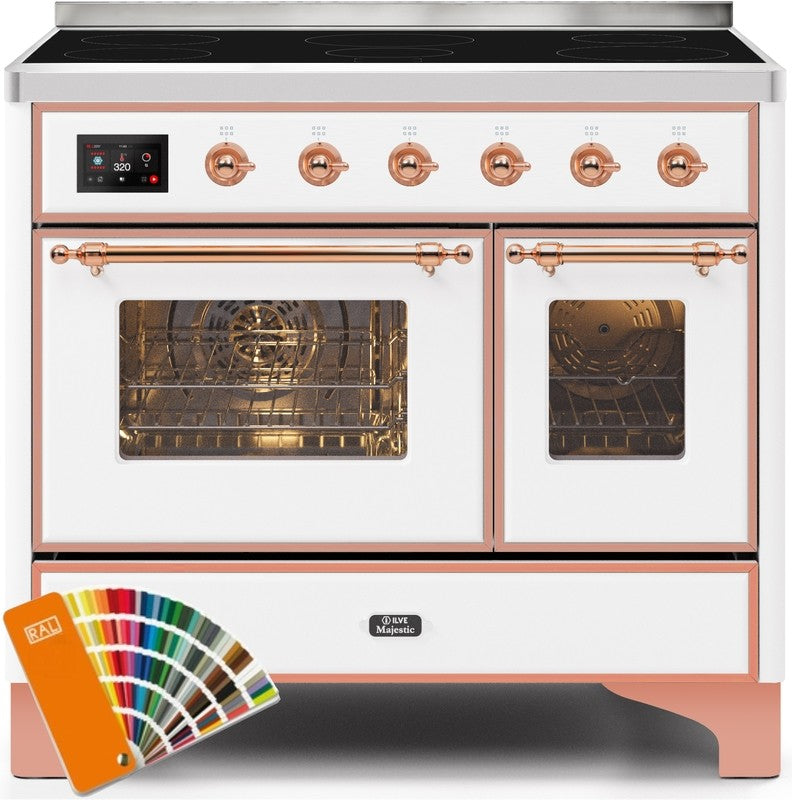 "Majestic II Series Induction Range with 6 Elements   Dual Ovens  TFT Control Display  Triple Glass Cool Oven Door   Bronze Trim   in Custom RAL Color""UMDI10NS3ARALP 40 - America Best Appliances, LLC"