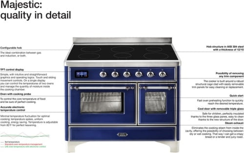 "Majestic II Series Induction Range with 6 Elements  Dual Ovens   TFT Control Display   Triple Glass Cool Oven Door   Bronze Trim  in Custom RAL Color""UMDI10NS3MBP 40 - America Best Appliances, LLC"