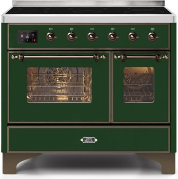 "Majestic II Series Induction Range with 6 Elements  Dual Ovens  TFT Control Display  Triple Glass Cool Oven Door  Bronze Trim  in Custom RAL Color""UMDI10NS3EGB 40 - America Best Appliances, LLC"