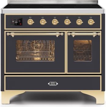 "Majestic II Series Induction Range with 6 Elements   Dual Ovens   TFT Control Display   Triple Glass Cool Oven Door   Bronze Trim   in Custom RAL Color""UMDI10NS3MGG 40 - America Best Appliances, LLC"