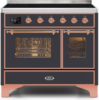 "Majestic II Series Induction Range with 6 Elements   Dual Ovens   TFT Control Display  Triple Glass Cool Oven Door   Bronze Trim   in Custom RAL Color""UMDI10NS3MGP 40 - America Best Appliances, LLC"
