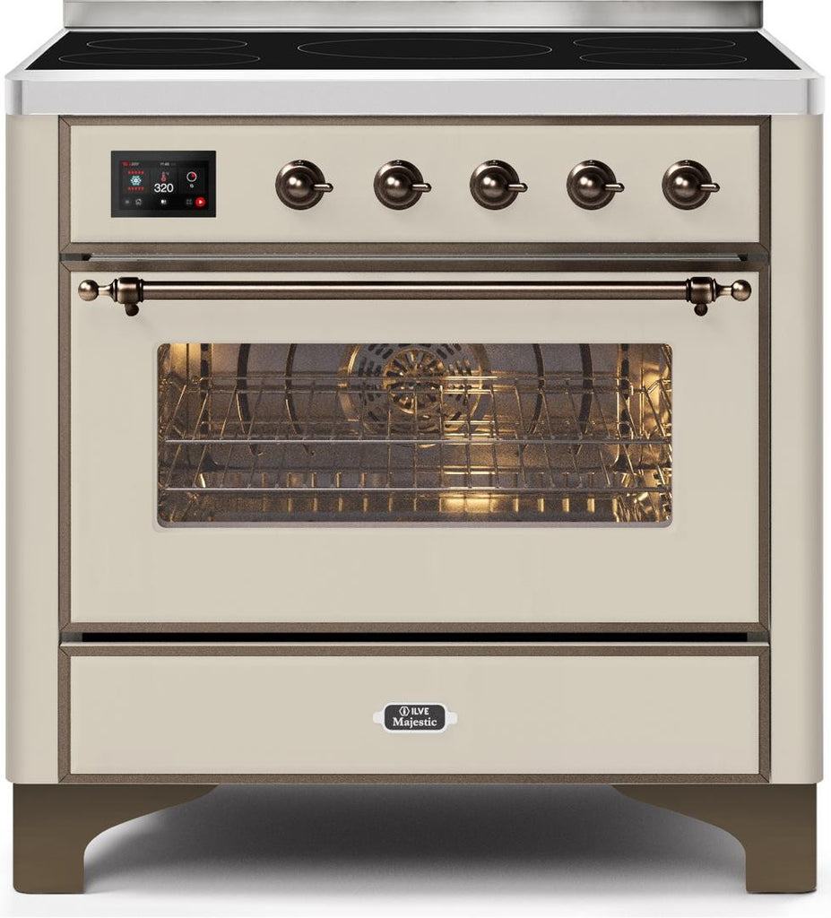 "Majestic II Series Induction Range with 6 Elements   Dual Ovens   TFT Control Display   Triple Glass Cool Oven Door   Bronze Trim   in Custom RAL Color""UM109NS3AWB 36 - America Best Appliances, LLC"