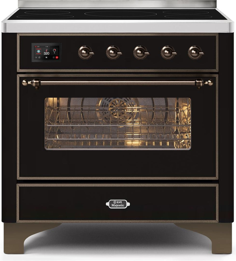 "Majestic II Series Induction Range with 6 Elements   Dual Ovens   TFT Control Display   Triple Glass Cool Oven Door   Bronze Trim   in Custom RAL Color""UM109NS3BKB 36 - America Best Appliances, LLC"