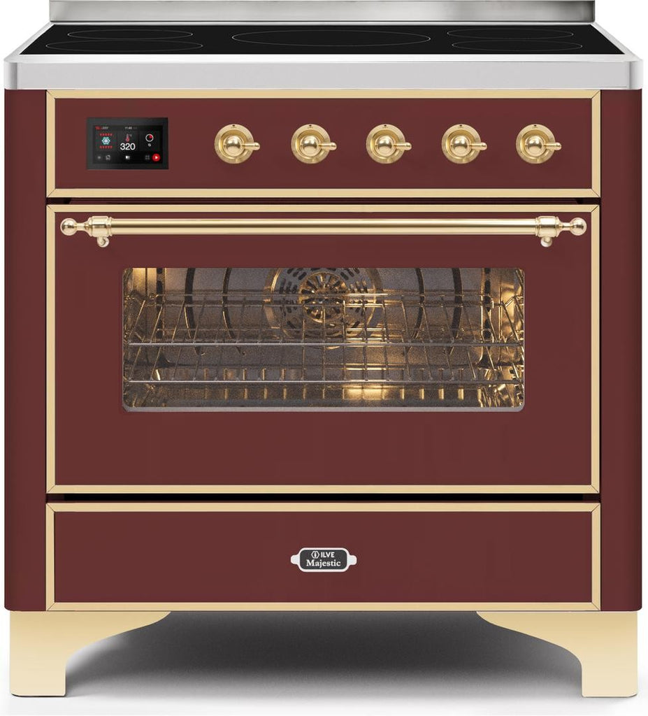 "Majestic II Series Induction Range with 6 Elements   Dual Ovens   TFT Control Display   Triple Glass Cool Oven Door   Bronze Trim   in Custom RAL Color""UM109NS3BUG 36 - America Best Appliances, LLC"