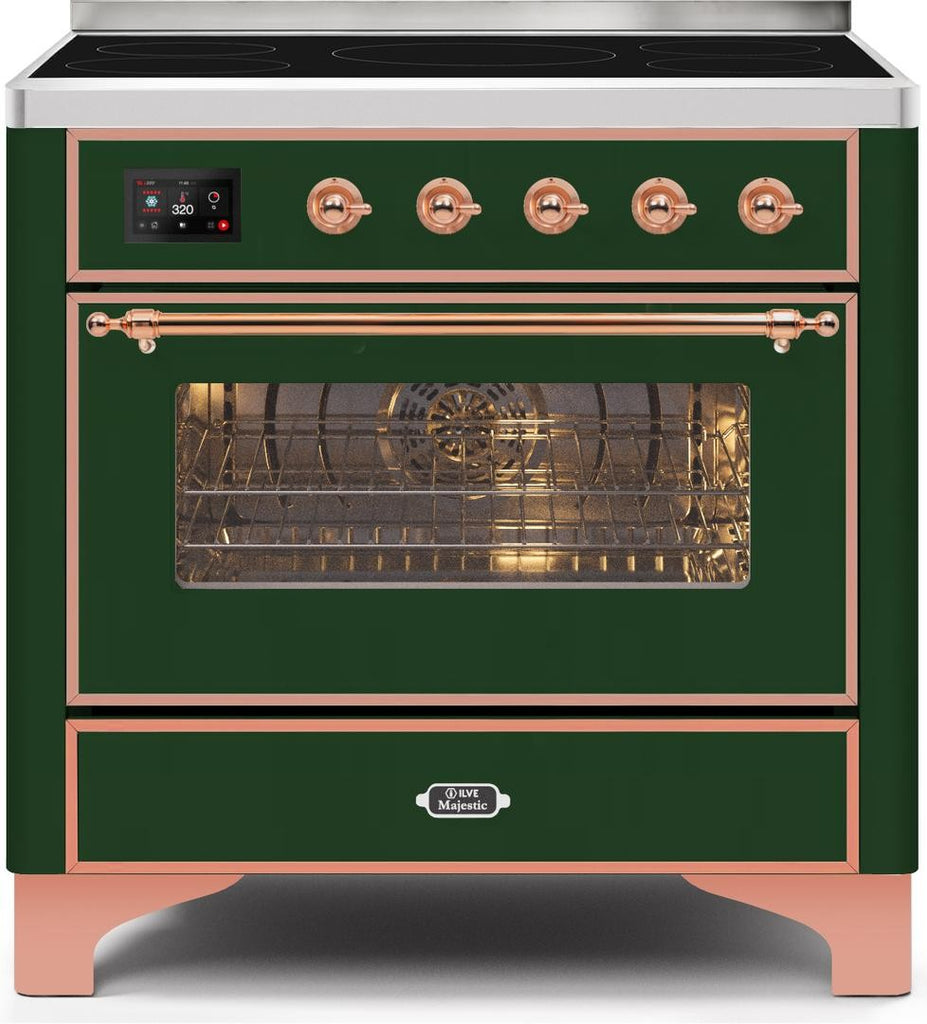 "Majestic II Series Induction Range with 6 Elements   Dual Ovens  TFT Control Display  Triple Glass Cool Oven Door  Bronze Trim   in Custom RAL Color""UM109NS3EGP 36 - America Best Appliances, LLC"