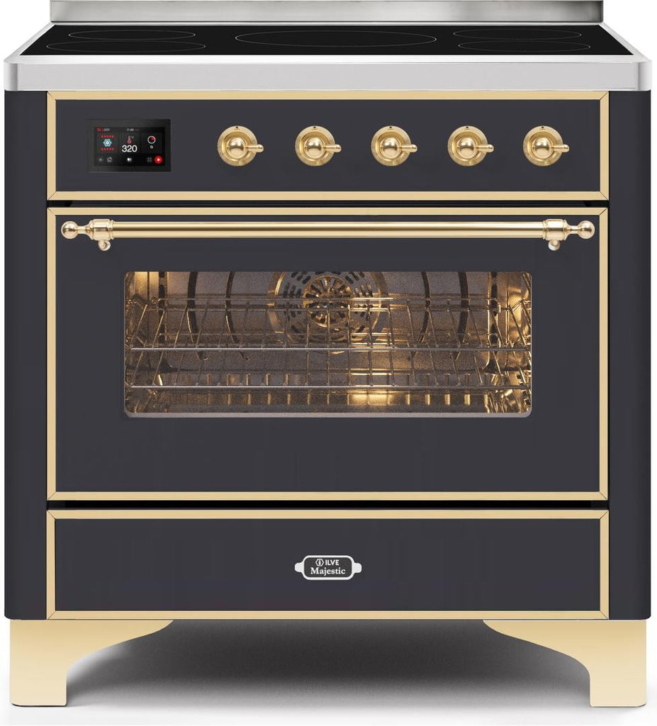 "Majestic II Series Induction Range with 5 Elements   Gold Trim   in Matte Graphite""UMI09NS3MGG 36 - America Best Appliances, LLC"
