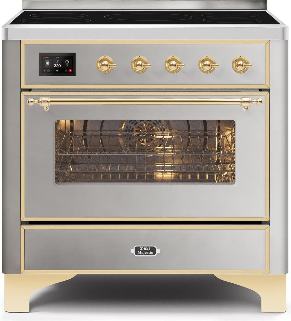 "Majestic II Series Induction Range with 5 Elements   Gold Trim   in Stainless Steel""UMI09NS3SSG 36 - America Best Appliances, LLC"