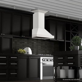 Wooden Wall Mount Range Hood in White - Includes Motor  ZLINE 36 in. - America Best Appliances, LLC