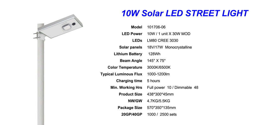 10w all in one solar led street light