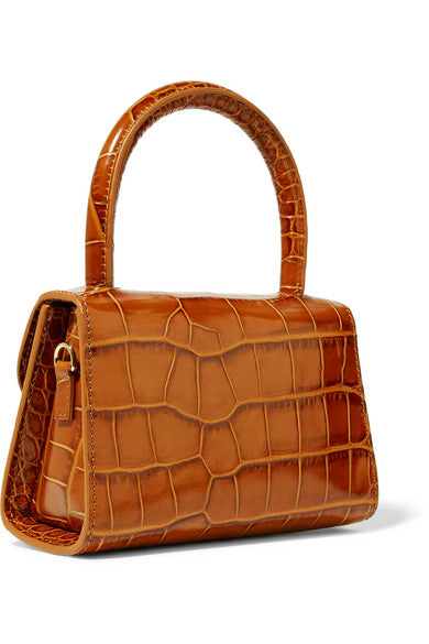 By Far Mini tan croc-effect bag