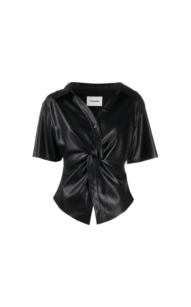 Thora black vegan leather twisted front short sleeve shirt