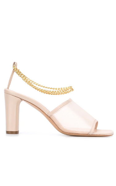 Inez 75 Chain-embellished Mesh Mules In Neutrals