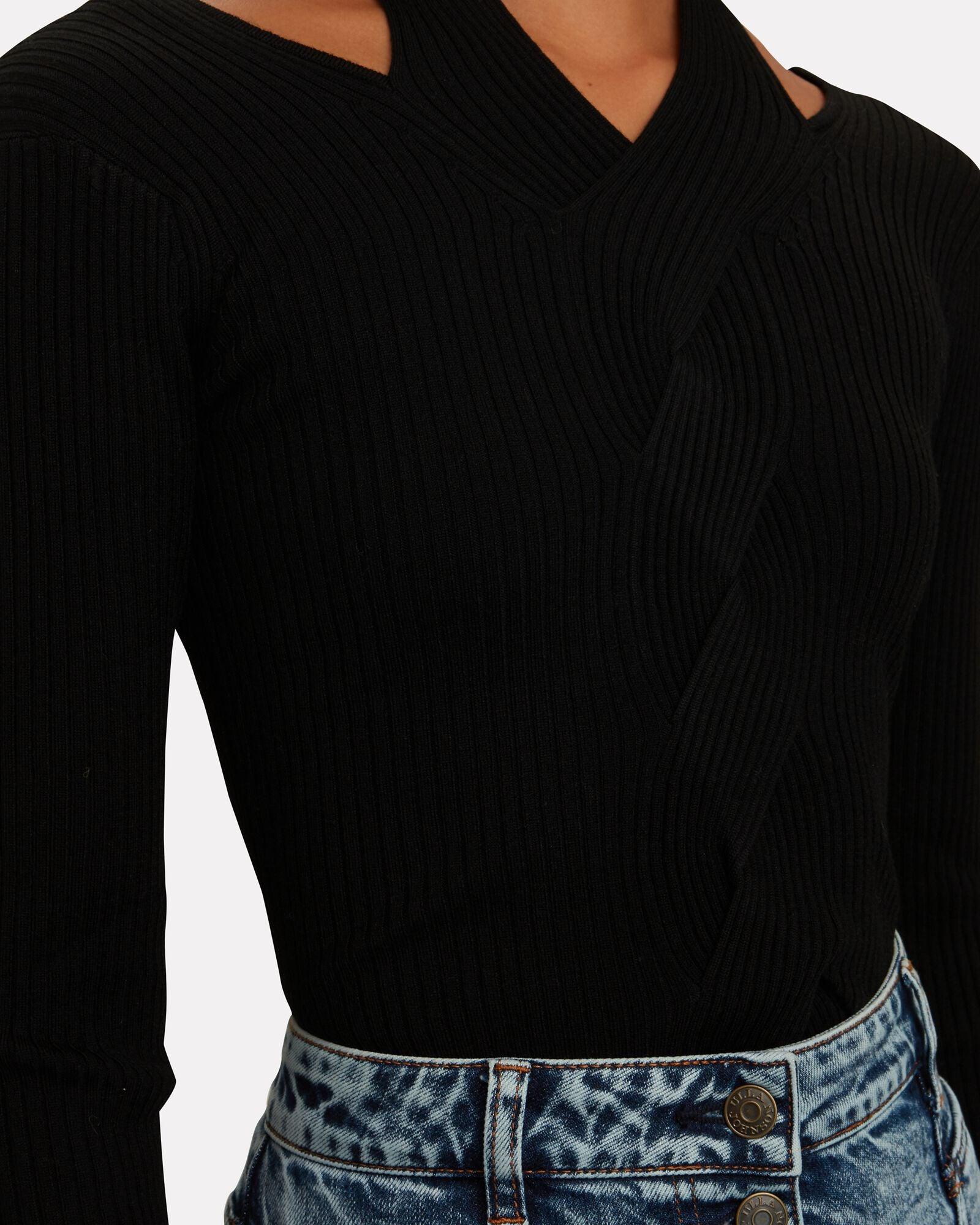Leah Ribbed Cable Knit Wool-Blend Sweater Black