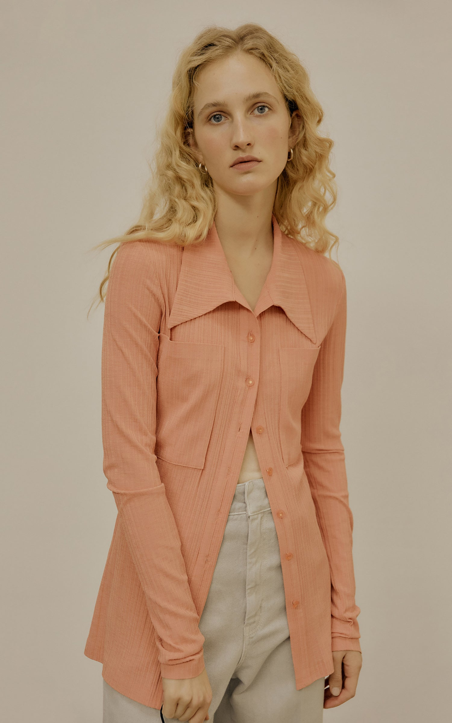 Jersey Pocket Shirt Mango Sorbet