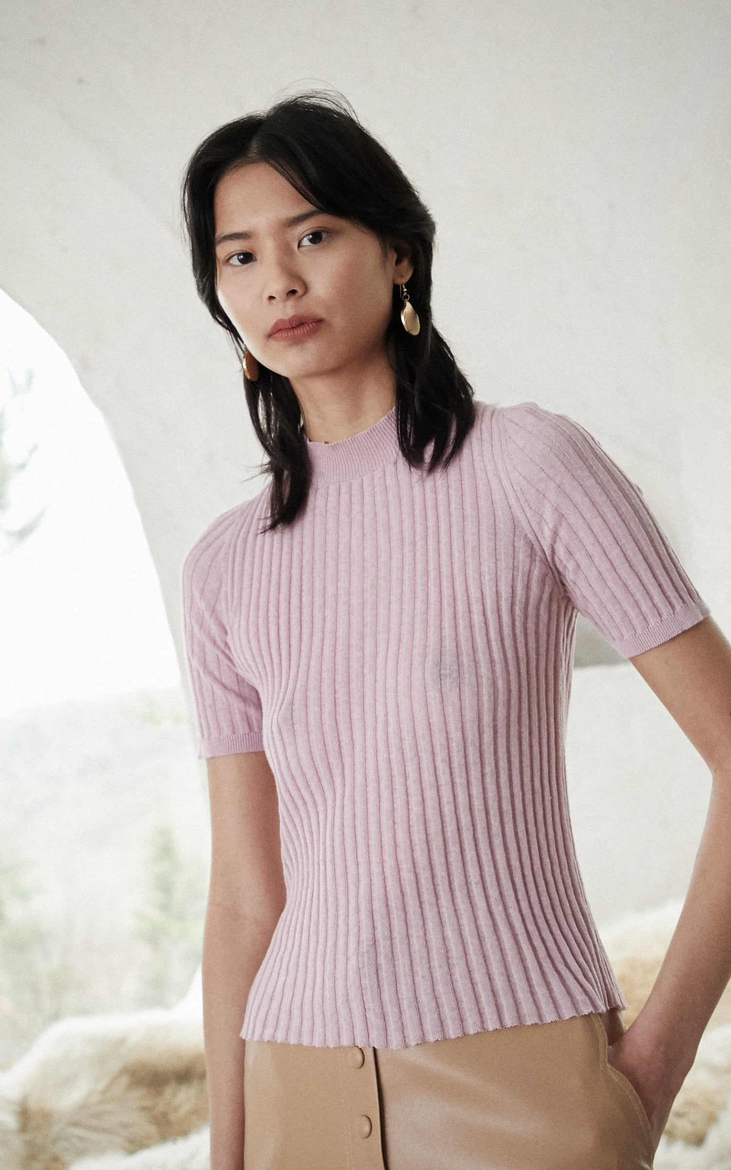 Nanushka Ange lilac turtleneck top