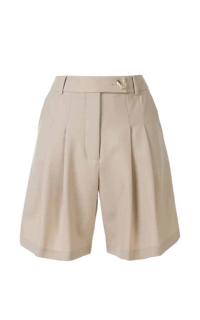 Oscar pleated wool-blended shorts