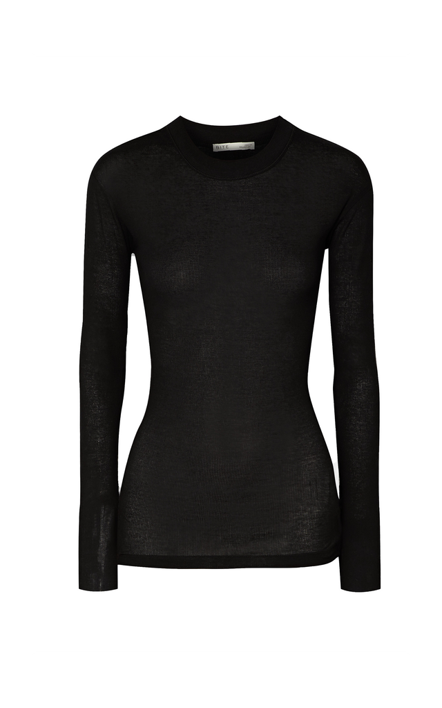 Ribbed Organic Cotton-Jersey Top Black