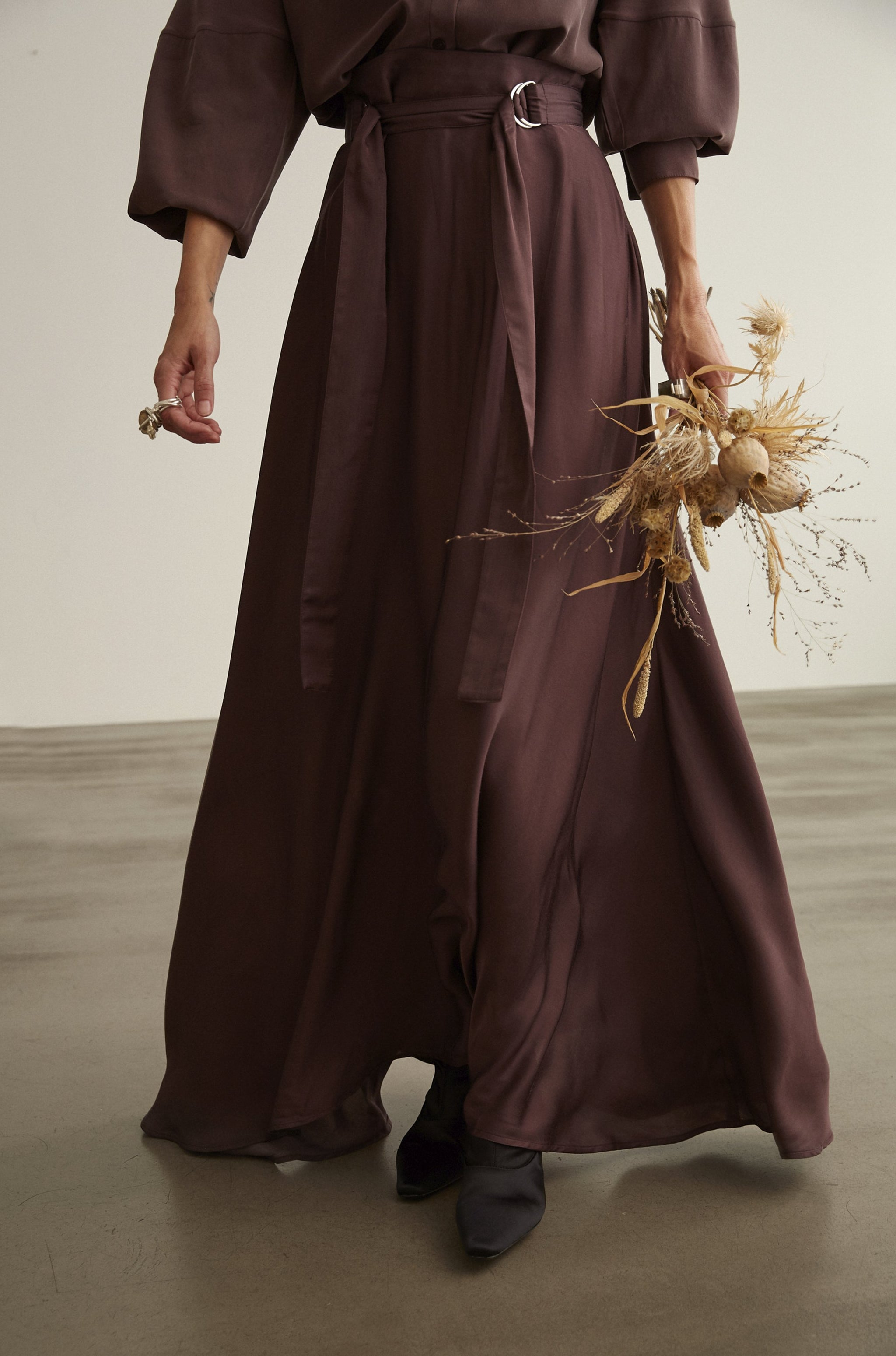 Rose Petal Belted Skirt Burgundy