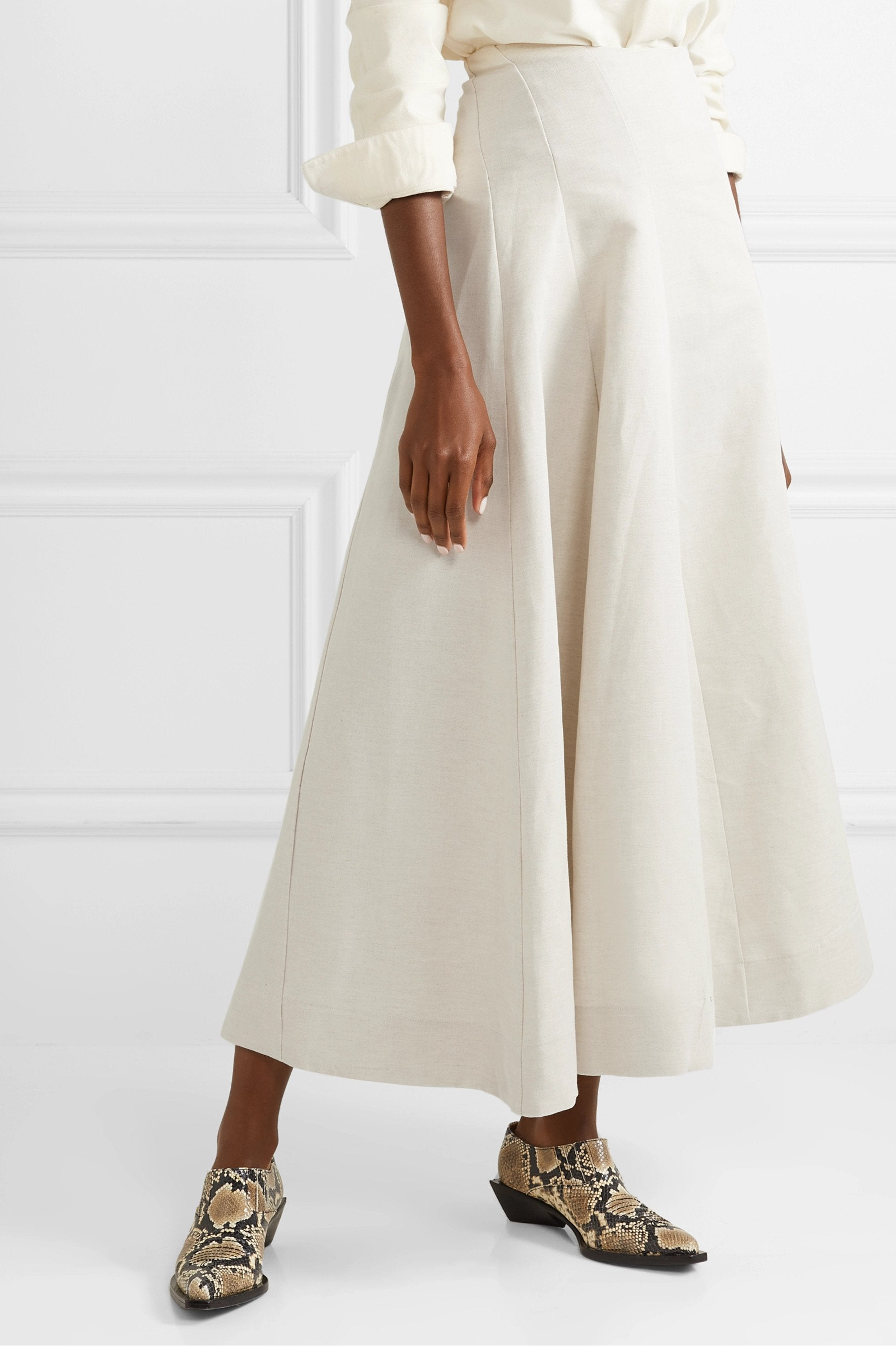 Organic linen and cotton-blend midi skirt