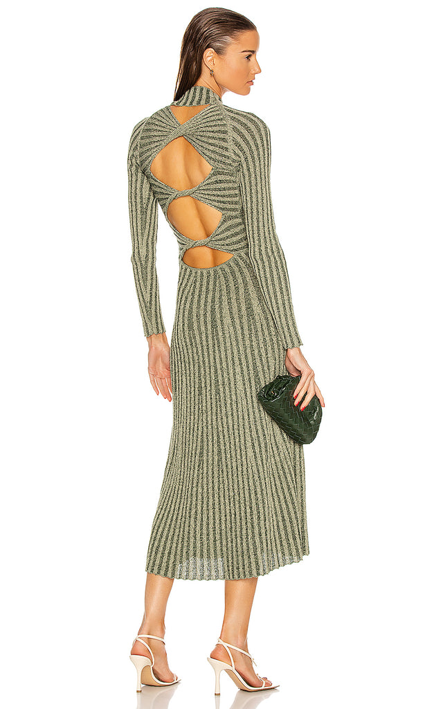 Natural Stripe Rib Ls Dress Pistachio/Forest