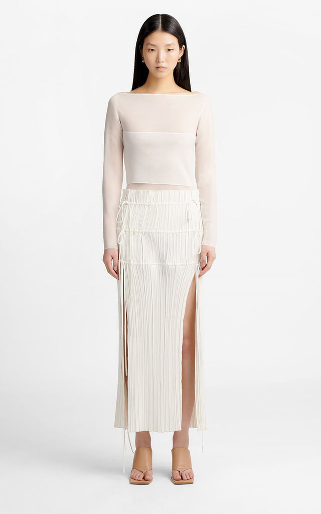 Channel Pleat Skirt Ivory