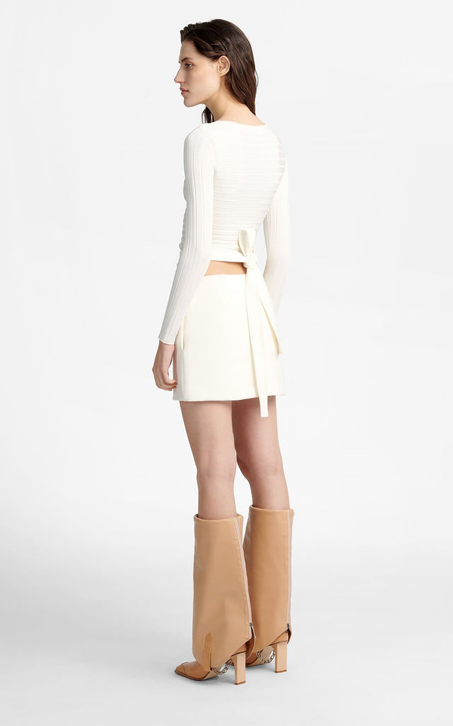 Y Front Mini Skirt Ivory