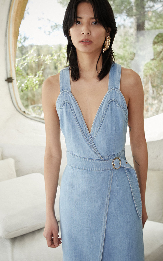 Nanushka Giza 80'S denim wrap dress