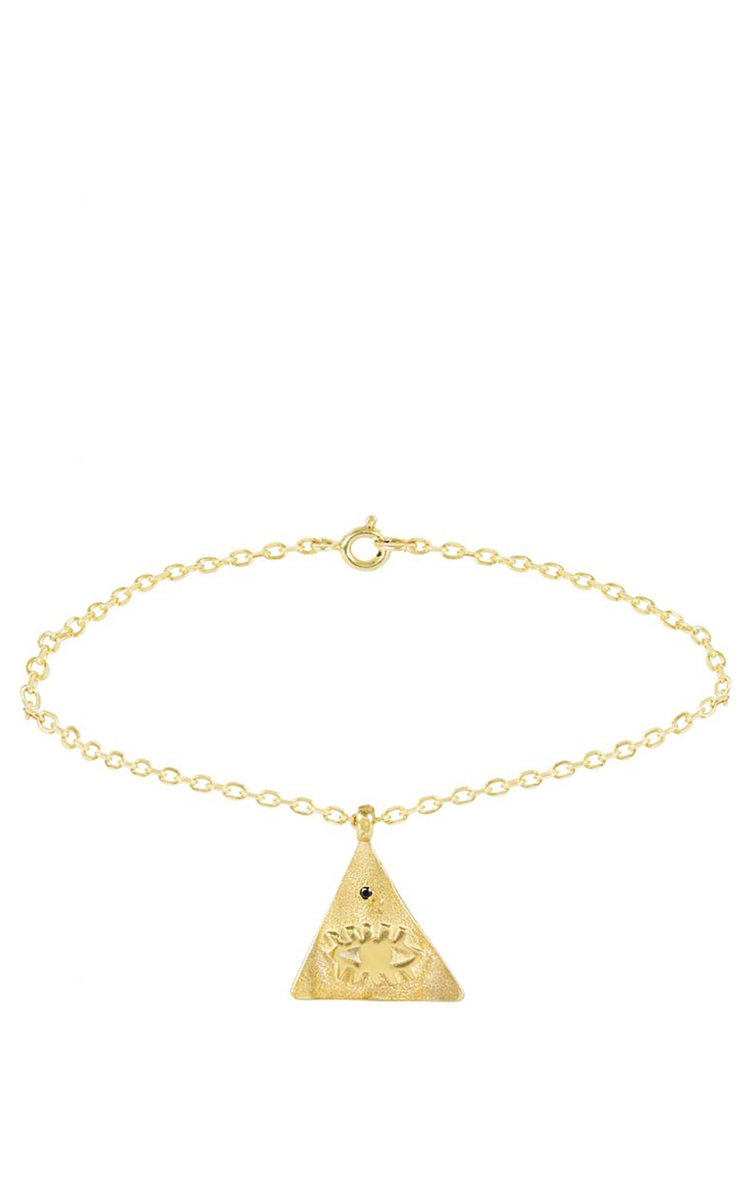 Kressida Small Pyramis Gold plated Bracelet - Red Stone