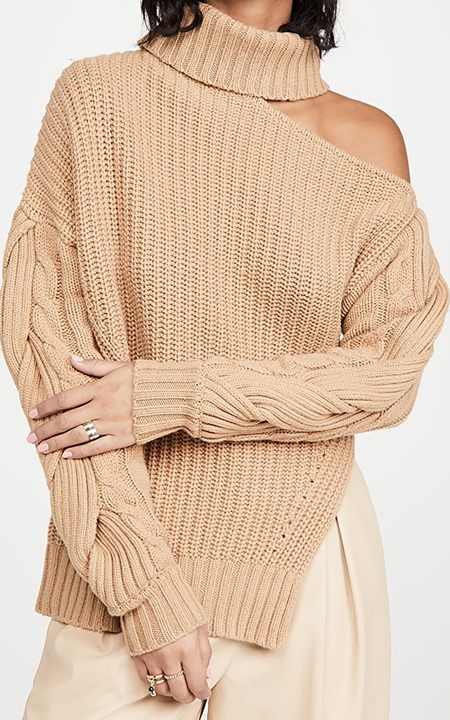 Aubrey cable sweater camel