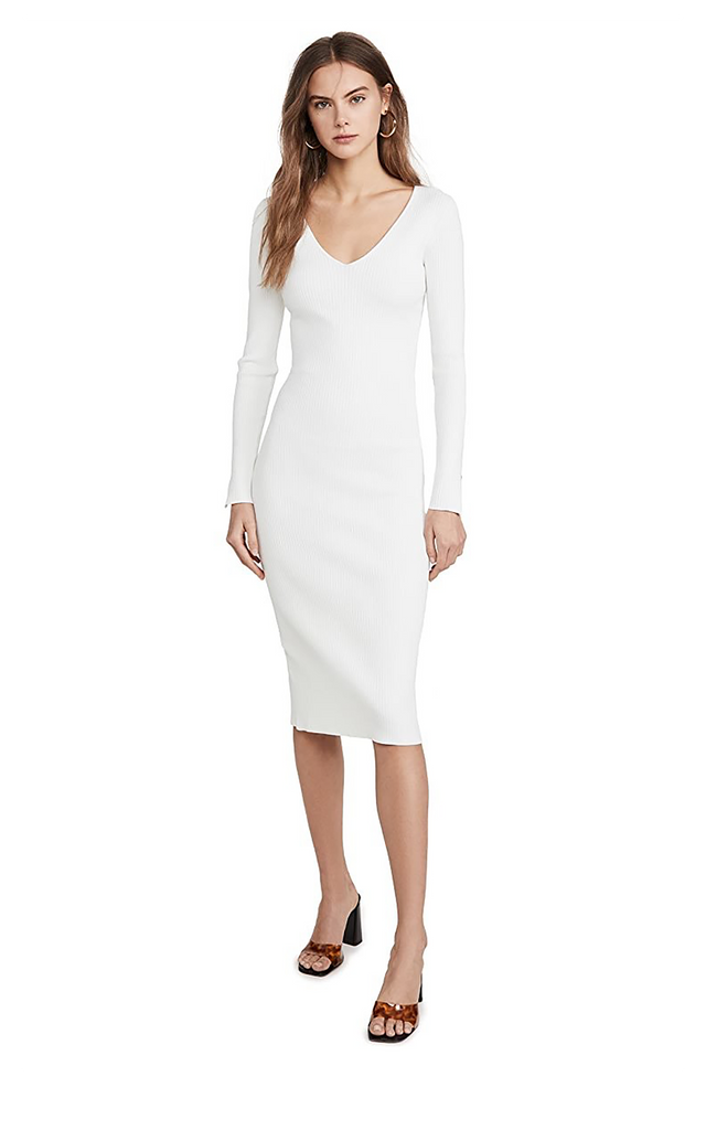 Deep Rib Open Neck Dress White