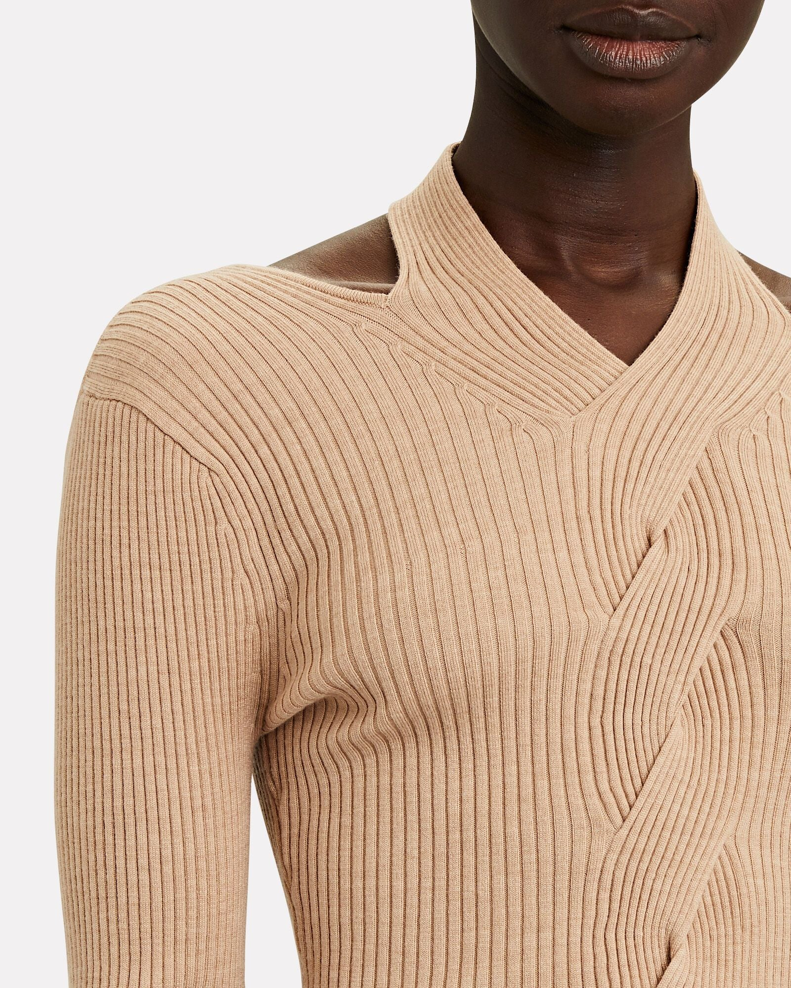 Leah Ribbed Cable Knit Wool-Blend Sweater Camel